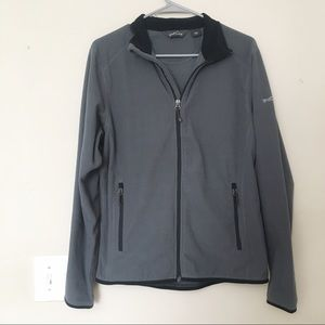 Eddie Bauer Gray Ribbed Zip Up Jacket Size Small S